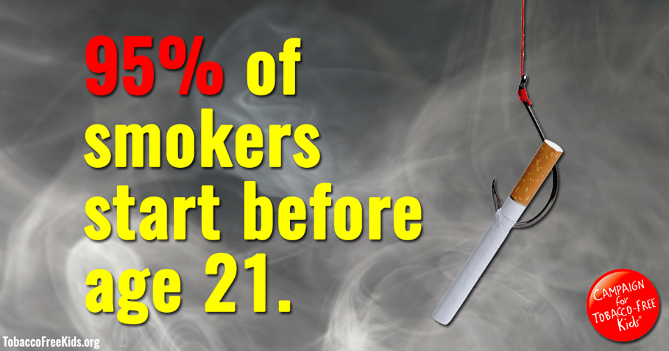 95% of smokers start before the age of 21